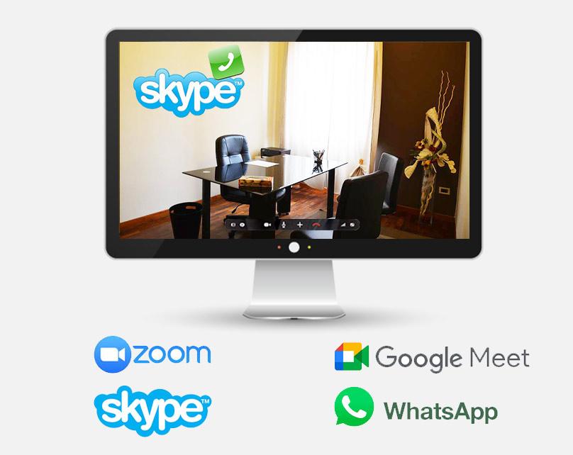 terapia con psicologo online con skype, WhatsApp, zoom e meet